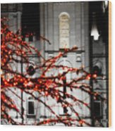 Slc Temple Red White N Black Wood Print by La Rae  Roberts