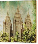 Slc Vintage Green Wood Print by La Rae  Roberts