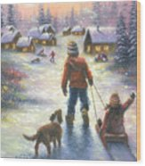 Sledding To The Village Wood Print