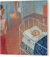 Sleeping Child Wood Print by Kuzma Sergeevich Petrov Vodkin