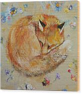 Sleeping Fox Wood Print