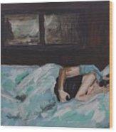 Sleeping In Wood Print by Leslie Allen
