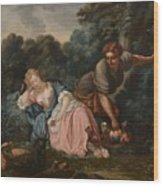 Sleeping Maiden In A Woodland Landscape Wood Print
