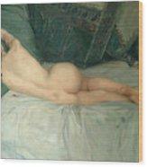 Sleeping Naked Woman Wood Print
