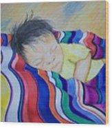 Sleeping On A Rainbow Wood Print