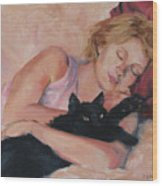 Sleeping With Fur Wood Print