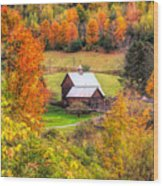 Sleepy Hollow Farm In Fall Wood Print