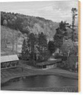 Sleepy Hollows Farm Woodstock Vermont Vt Pond Black And White Wood Print