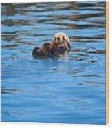 Sleepy Otter Wood Print