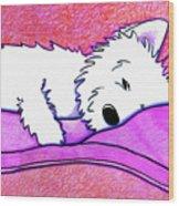 Sleepy Westie Girl Wood Print