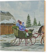 Sleigh Ride Wood Print by Charlotte Blanchard