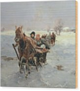 Sleighs In A Winter Landscape Wood Print