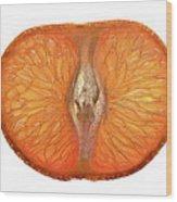 Slice Of A Mandarin Orange Wood Print