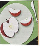 Sliced Apple Wood Print