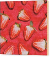Sliced Red Strawberry Background Wood Print
