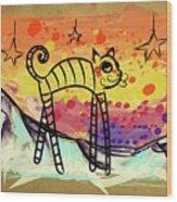 Slinky Cat Wood Print