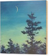 Sliver Moon And Pines Wood Print