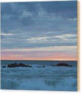 Sliver Of Pink At Moonstone Beach Wood Print