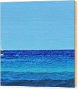 Sloop Sailing On Blue Wood Print