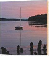 Sloop Sunset Wood Print