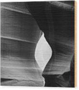 Slot Canyon - Monochrome Wood Print