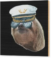 Sloth Aviator Glasses Captain Hat Sloths In Clothes Wood Print