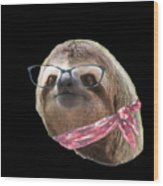 Sloth Black Glasses Red Scarf Sloths In Clothes Wood Print
