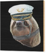 Sloth Monacle Captain Hat Sloths In Clothes Wood Print