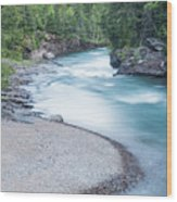 Slow Down On Mcdonald Creek Wood Print