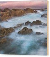 Slow Exposure Of A Kerry Sunset Ireland Wood Print