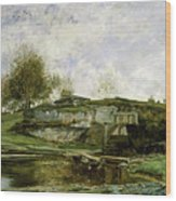Sluice In The Optevoz Valley Wood Print
