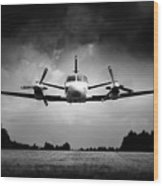 Small Airplane Low Flyby Wood Print