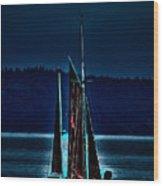 Small Among The Tall Ships Wood Print