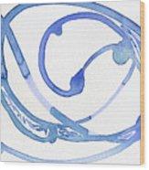 Small Blue Scrimshaw Wood Print
