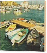 Small Boat Dock Catalina Island California Wood Print