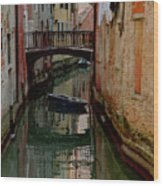 Small Boat on Canal in Venice for Vrooman Wood Print
