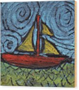 Small Boat With Yellow Sail Wood Print