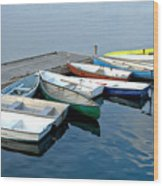 Small Boats Docked To A Pier Wood Print