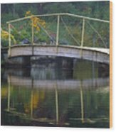 Small Bridge In Double Flowered Wood Print