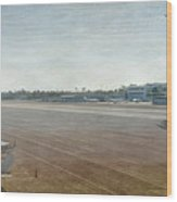 Small City Airport Plane Taking Off Runway Wood Print
