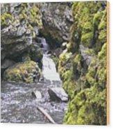 Small Falls At Boulder Cave Wood Print