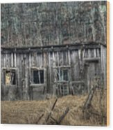 Small Farm Shed Wood Print