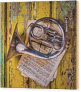Small French Horn Wood Print