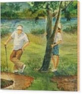 Small Golf Hazard Wood Print