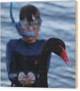 Small Human Meets Black Swan Wood Print