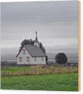 Small Icelandic Church With Gray Roof Wood Print
