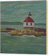 Small Island Lighthouse Wood Print