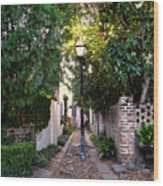 Small Lane In Charleston Wood Print