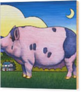 Small Pig Wood Print by Stacey Neumiller