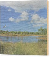 Small Pond With Weathered Wood Wood Print